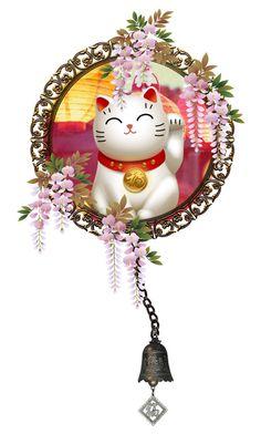 """Maneki-neko Charm"" by girlinthebigbox ❤ liked on Polyvore featuring art, japanese, folklore and beckoningcat"