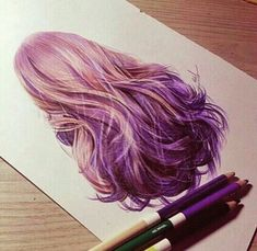 hair, drawing, and purple image