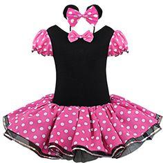 TIAOBU Girls Halloween Polka Dots Party Costume Dress Tutu Skirt with Headband (4-5, Hot Pink)