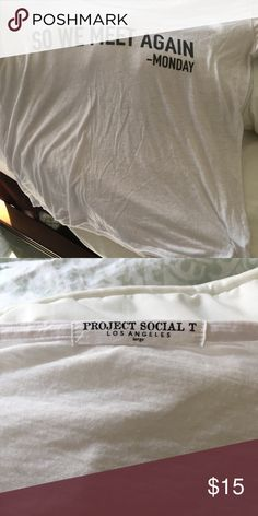 White trendy T-shirt Good Condition light weight Project Social T Tops Tees - Short Sleeve