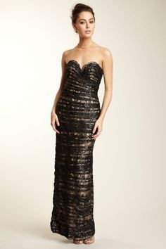 Vicky Tiel Long Strapless Lace Gown by Blowout on @HauteLook