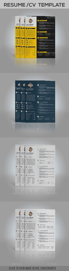 Resume Template PSD, Vector EPS, AI Illustrator, MS Word Resume - illustrator resume templates