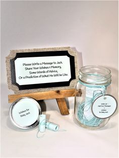 Message Filled Wish Jar * Party * Baby Shower *Bridal Shower * Graduation Party * Going Away Party Baby Shower Wishes, Wishes For Baby, Baby Shower Parties, Jar Of Notes, Going Away Parties, Wishes Messages, Word Of Advice, Party Themes, Party Ideas
