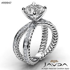 2.52ct Round Pave Diamond Engagement Rope Style Ring GIA F VS1 14k White Gold