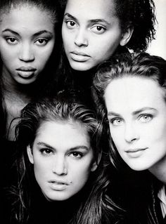VOGUE Italia, December 1988Photographer: Patrick DemarchelierModels: Naomi Campbell, Louise Vyent, Cindy Crawford and Laetitia Firmin-Didot