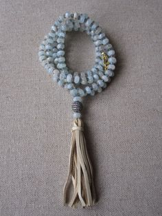 The Medina- Blue Opal and Labradorite Cz/Tassel Necklace by Goldenstrand Jewelry