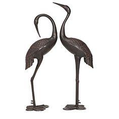"""Bronze Heron Metal Statue Art Accent Pond Decoy Patio Porch Lawn Garden Yard 45/"""""""