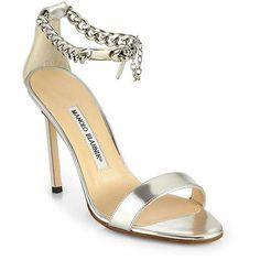 NIB Manolo Blahnik Chaos Metallic Ankle Chain Sandals Silver Size 41 11 $845