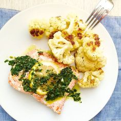Roasted Salmon With Spicy Cauliflower Recipe — Dishmaps
