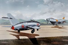 N. Korean pilot, Lt. No Kum-Soc lands his MiG-15 at Kimpo Air Base, S. Korea, with the wind and against the pattern of US F-86 Sabrejets, Sept. 21, 1953. The historic defection gave the US its first MiG-15. Print is signed by Lt. No Kum-Soc, now naturalized citizen, Ken Rowe.