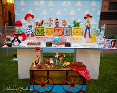 toy story party table, desserts and decor