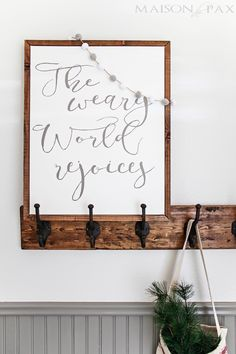 DIY Christmas sign: learn how to make your own beautiful hand painted sign on canvas framed with a simple wooden frame | maisondepax.com #signs #homedecor #diy #christmas #holiday