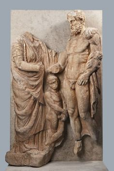 Funerary Monument with Three Figures 				                								                     Date:                      circa 330-320 B.C.                                                  	             	                 	                    Medium: 	                    Pentelic marble