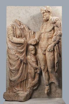 Funerary Monument with Three Figures                                      Date:                      circa 330-320 B.C.                                                                                                    Medium:                     Pentelic marble