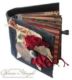 7gypsies denim journal - Dungaree - travel journal in red, white and blue Gloria Stengel Memory Journal, Book Journal, Journals, Travel Scrapbook, Mini Scrapbook Albums, Vintage Denim, Creative Studio, Handmade Books, Book Making