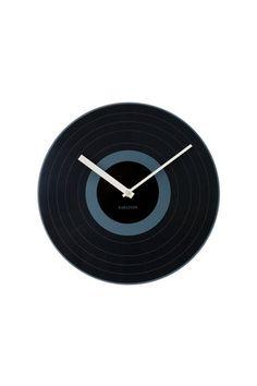 Present Time/Karlsson Black Record Wall Clock