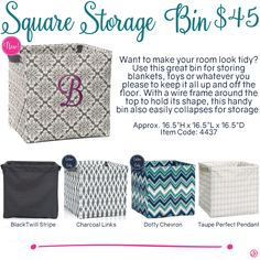 Square Storage Bin by Thirty-One. Fall/Winter 2016. Click to order. Join my VIP Facebook Page at https://www.facebook.com/groups/1603655576518592/