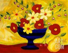 Striped Vase Art Print by Julie Fillo at Art.com
