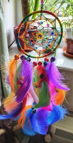 Little rainbow feather dreamcatcher, LGBT, pride, rainbow wall art Dream Catcher Decor, Dream Catcher Mobile, Dream Catcher White, Dream Catcher Boho, Dream Catchers, Collar Indio, Los Dreamcatchers, Dreamcatcher Wallpaper, Spiritual Decor
