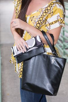 Black faux leather purse with matching mini clutch by SLHandbags, $60.00
