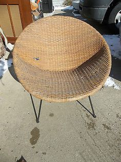 Vintage CALIF-ASIA Rattan Wicker Round Pod Lunar Chair Mid Century Eames Era! & 2 1960u0027s ROUND WICKER CHAIRS - $100 | Craigs List guilty pleasures ...