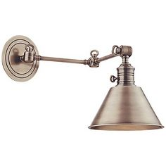 Hudson Valley Garden City Nickel Swing Arm Wall Lamp - too expensive, but right look