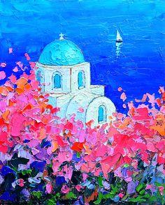 Santorini Impression - Full Bloom In Santorini Greece Ana Maria Edulescu