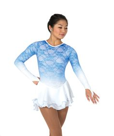 Figure Skating Dress Jerry's Cloud Nine-A misty blue glitter lace dress that softly blends into white at the waist and wrists. Filmy double layer skirt with a petal hem edged in blue and an elegant dropped elliptical back keyhole. Lined; finger points. Youth 12-14 to Adult Large. $164.98