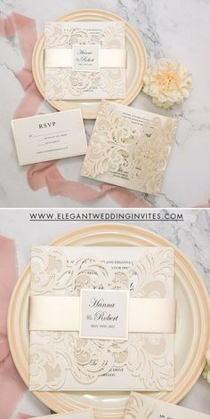 Ivory and champagne shimmer laser cut wedding invitations