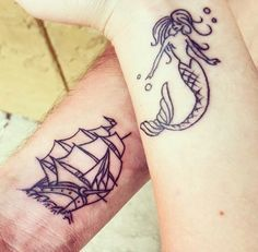 Mermaid and Pirate Ship tattoo. Relationship goals couple tattoos