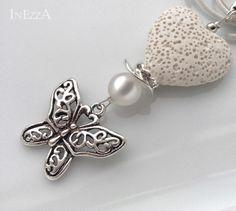 Anhänger LavaHerz Schmetterling Polarisperle weiß von INEZZA  -  Geschenkestübchen auf DaWanda.com