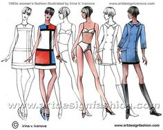 """60's ... 2 piece swim suits, shift dresses, and mini skirts ... Oh, and, for a short while, """" go-go """" boots :-)"""