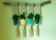 Macrame Kitchen Herb Plant Hanger on Natural by beeWEAVEitorKNOT
