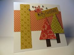 $4.00 Handmade Christmas card with trees and snowflakes. by loftcardsetc