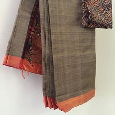 So fresh off the loom that this grey and red classic hasn't even been folded into the conventional style. Another saree for your from our collection Elegant Saree, Traditional Sarees, Dress Cuts, Beautiful Saree, Woman Clothing, Work Wardrobe, Saree Collection, Saris, Office Wear