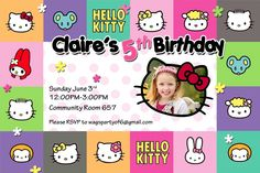 Hello Kitty FREE Printable Birthday Party Invitations Birthday - Free hello kitty birthday invitation templates