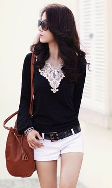Casual Style Elastic Slimming Lace Embellished Neck Long Sleeve Cotton Blend T-Shirt For Women (BLACK,ONE SIZE) China Wholesale - Sammydress.com