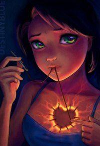 Аватар вконтакте Девушка с большими, грустно-зелеными глазами, пришивает заплатку в виде сердечка на грудь, художник DestinyBlue (© Haose), добавлено: 14.08.2015 12:10