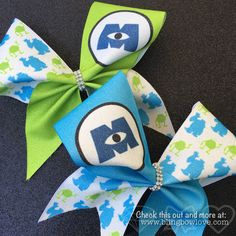 Monster BFF Cheer Bows Set // Monster Bows // Green Cheer Bow // Blue Cheer Bow