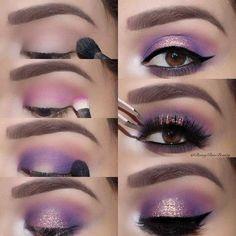 Purple Smokey Eye Makeup Ideas & Hacks - Summer Make-Up Purple Smokey Eye, Purple Eye Makeup, Smokey Eye Makeup, Purple Eyeshadow Looks, Purple Makeup Looks, Black Smokey, Smokey Eye Steps, Smoky Eye, Lila Make-up