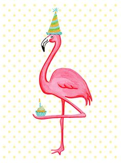 Birthday Greeting card Pink Flamingo who I love door AmelieLegault
