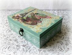 Wooden tea box jewelry box decoupage box by CarmenHandCrafts Decoupage Wood, Decoupage Vintage, Jewerly Box Diy, Wooden Tea Box, Sage Color, Shabby, Painted Boxes, Diy Box, Wood Boxes