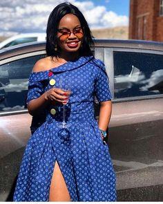 Shweshwe & Shoeshoe Traditional Wedding Dresses - Reny styles African Fashion Skirts, South African Fashion, African Fashion Designers, African Print Dresses, African Wear, African Dress, African Prints, South African Traditional Dresses, Traditional Wedding Dresses