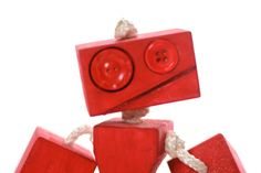 girl robot Toy robot wood robot children's gift by TANGLeAndFoLd, $35.00