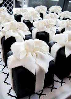 Black & White Individual Cakes All Wrapped Up. So Cute!