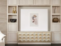 love how the sideboard is incorporated into the built in.Before + After: A Forgettable Family Room Gets A Sophisticated Second Chance Living Room Remodel, Home Living Room, Living Room Furniture, Living Room Designs, Living Room Decor, Living Spaces, Built In Wall Units, Wall Unit Designs, Family Room Design