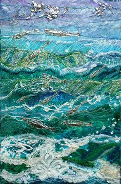 32 Ideas for landscape art quilting design Textile Fiber Art, Textile Artists, Ocean Quilt, Landscape Art Quilts, Quilting Designs, Art Quilting, Crazy Quilting, Thrift Store Crafts, Thread Painting