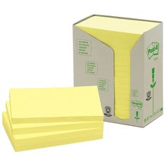 Post-it gerecyclede notes toren geel 76 x 127 mm | De gerecyclede 3M Post-it notes toren geel, dragen het blauwe engel milieukeurmerk. De blokken Post-it notes zijn niet per stuk verpakt zoals de normale Post-its. Dit is gedaan om de natuur nog minder te belasten. Daarnaast is de verpakking 100% gemaakt van ongebleekt en ongekleurd karton. Deze Post-it notes plakken net zo goed als de normale en zijn ook makkelijk verwijderbaar zonder lijmresten na te laten.