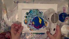 fluid acrylics pour using toilet paper tube, large cells, heat gun, DecoArt, Flip Cup, dirty pour - YouTube