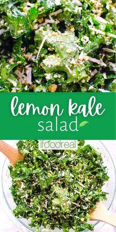 Green Salad Recipes, Kale Recipes, Healthy Salad Recipes, Whole Food Recipes, Vegetarian Recipes, Kale Kale, Massaged Kale Salad, Kale Salads, Salads